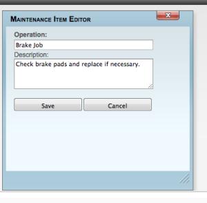 Maintenance Item Editor done